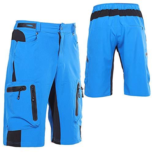 Culotte Ciclismo Hombre,Primavera y Verano Culotes Ciclismo Hombre, Transpirable Cómodo Pantalones Cortos de Ciclismo,para Correr Deportes al Aire Libre Pantalon Corto Montaña(Size:L,Color:Azul)