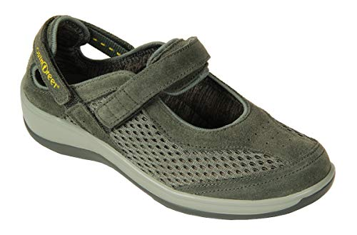 Orthofeet Proven Heel and Foot Pain Relief. Extended Widths. Best Orthopedic Bunions Diabetic Women's Mary Jane Shoes Sanibel Grey