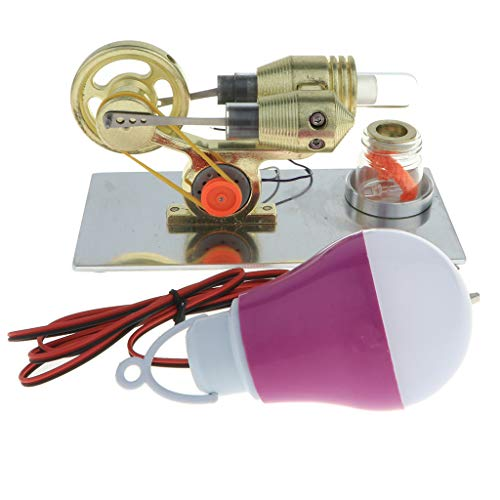 Toygogo Heißluft Stirlingmotor Mini Modell, Bildungsspielzeug Strom, Stromerzeuger Bunte LED (17 X 8 X 15 Cm)