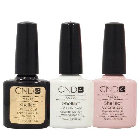 CND Shellac - Kit de manicura francesa de color blanco y rosa