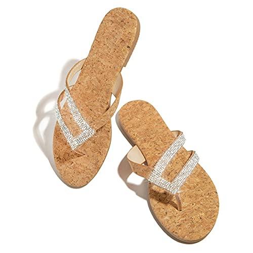 BestSiller Sandalias de señora, zapatillas de plataforma cómodas con diamantes de imitación, sandalias casuales para mujer, verano, playa, viajes