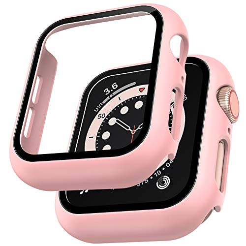 LϟK 2 Pack Funda Protector de Pantalla de Cristal Templado Incorporado para Apple Watch 40mm Series 6 5 4 SE - Estuche Protector General para PC Duro HD Ultra-Thin Carcasa para iWatch 40mm - Rosa
