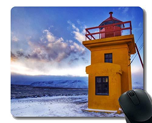 Yanteng Alfombrilla de ratón de Caucho Natural Impresa con Faro de Islandia - Bordes cosidos