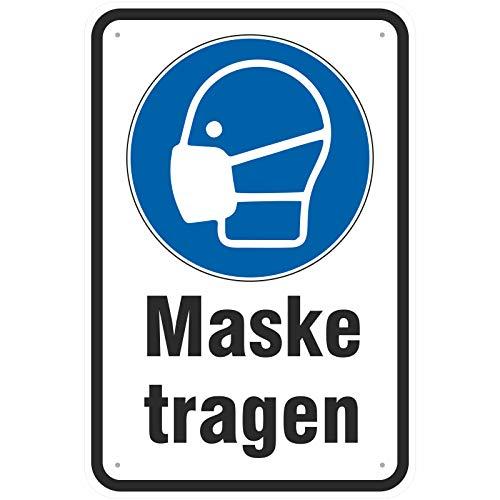 Schild 20 x 30 cm Maske Mund- und Nasenschutz tragen