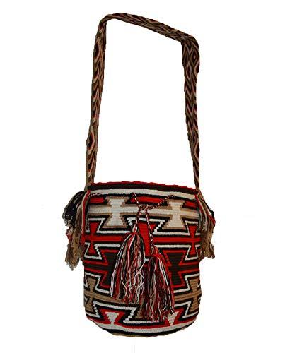 South American Wayuu Key Weave - Bolso de hombro de ganchillo (tejido a mano, color