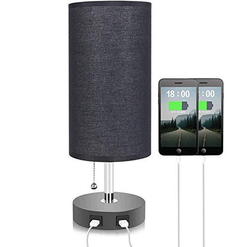 USB Carga de tela negra cubierta de mesa lámpara de mesa americana simple moderno dormitorio noche noche luz European plug