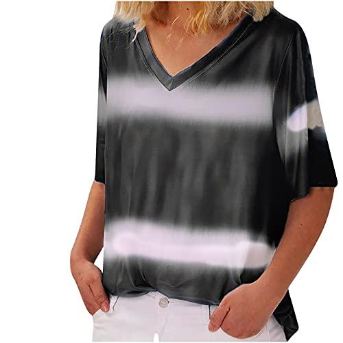 Camiseta de manga corta para mujer, estilo informal, cuello en V, holgada, cómoda, para el tiempo libre, para adolescentes, fitness, deporte, tallas grandes Negro L