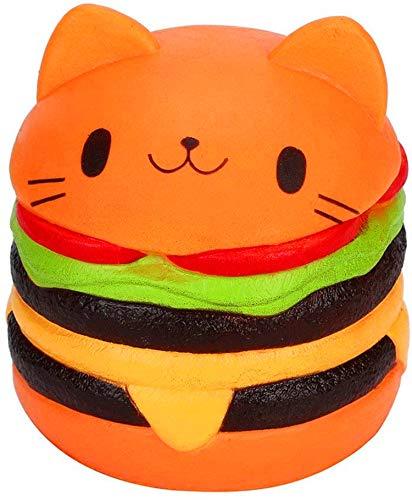 Etitulaire Squishy Hamburger,Squishy Pas Cher en Forme Chat Hamburger Squishy Kawaii pour Adulte et Enfant Hamburger Anti Stress (Orange)