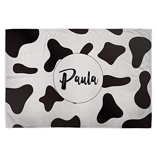 Manta Personalizada. Manta Polar para sofá y Cama. Tejido Certificado Oeko-Tex. Tamaño aproximado 75x105cm. Manta Suave. Vaca