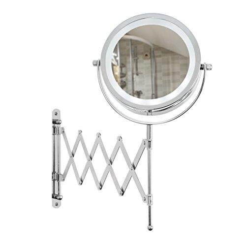 MiniSun – Moderner zweiseitiger Kosmetikspiegel 360° schwenkbar und batteriebetrieben mit Vergrößerungseffekt, integrierten LEDs, ausziehbarem Arm und glänzendem Chrom-Finish – Schminkspiegel mit Licht