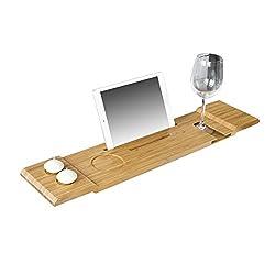 SoBuy® FRG104-N 70cm Long-Kaunis kylpyhylly, kylpyamme, kylpy matto, pidike iPadille tai matkapuhelimille
