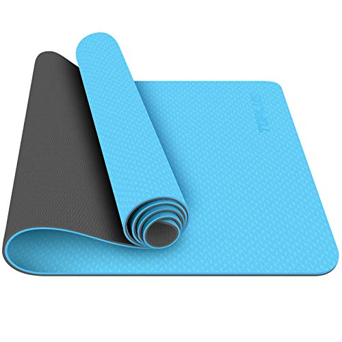 TOPLUS Yoga Mat, 1/4 inch Pro Yoga Mat TPE Eco Friendly Non Slip Fitness Exercise Mat with Carrying Strap-Workout Mat for Yoga, Pilates and Floor Exercises (light blue)