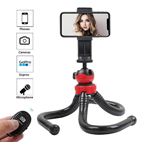 KTUPA Flexible Phone Tripod, Waterproof Travel Tripod for iPhone with Smartphone Mount Remote Control, Portable Tripod for Camera Smartphone and gopro and Microphone
