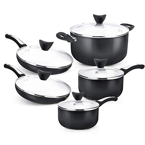 SHINEURI 10 Pieces Nonstick Pots and Pans Set with Glass Lid Ceramic Set for Induction, Electric, and Ceramic Glass