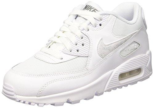 Nike Herren Air Max 90 Mesh (Gs) Turnschuhe, Elfenbein (Bianco (White/White/Cool Grey) White/White/Cool Grey), 36.5 EU