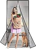 wohous Magnetic Screen Door, Magic Mesh Screen Door, Door Net Screen with Magnets Full Frame Fits Door up to 37 x 81 inch - Polyster Black