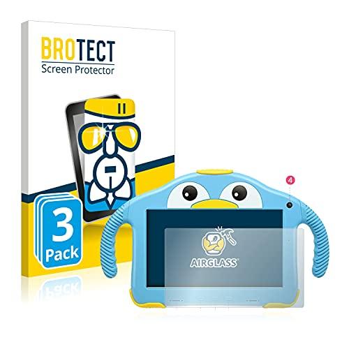 BROTECT Protector Pantalla Cristal Compatible con Yenock MID-1013 Kids Tablet 7' Protector Pantalla Vidrio (3 Unidades) - Dureza Extrema