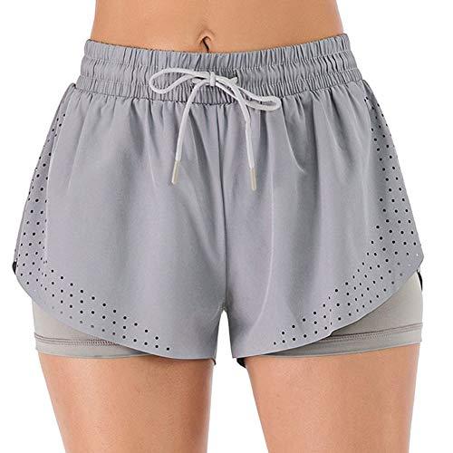 iClosam Pantaloncini Sportivi da Donna Pantaloncini da Corsa 2 in 1 Pantaloni Jogging da Allenamento Traspiranti ad Asciugatura Rapida S-XL (C-Grigio, XL)