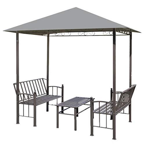 vidaXL Chapiteau de Jardin avec Table et Bancs Pavillon Tonnelle Auvent Patio
