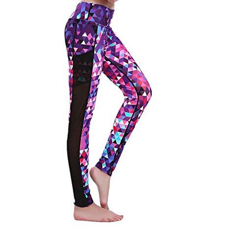 nonbranded Pantaloni da yoga da donnaLeggings sportivi in garza a rete Stampa moda Stretch Vita alta Traspirante ad asciugatura rapida Grandi dimensioni Viola S