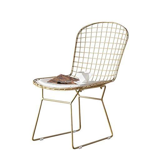 N/Z Tägliche Ausrüstung Esszimmerstühle Esszimmerstuhl Sitzkissen des Metallrahmens können als Küchenstühle für die Restaurant Lounge verwendet Werden (Farbe: Gold Größe: 42x47x84cm)