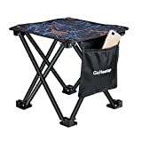 GaHeslop Small Camping Stool, Fishing Travel Outdoor Folding Stool, Portable Stool for Camping Walking Hunting Hiking Picnic Garden BBQ, Slacker Stool Holds Up 330lbs with Carry Bag