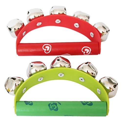 NUOBESTY 2Pcs Mano Jingle Bells Toys Rainbow Hand Percussion Shaker Sonajero Juguetes Musicales Ritmos Juguetes Educativos Tempranos para Niños Pequeños Regalos de Cumpleaños (Patrón