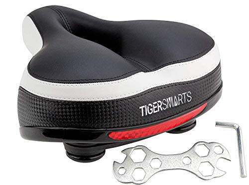 TIGERSMARTS Bike Seat Replacement Padded Comfortable Bicycle Seat with Shock Absorbing Springs- Best Bike Saddle Cushion for Bicycles and Bikes-Improves Riding Comfort (White/Black)