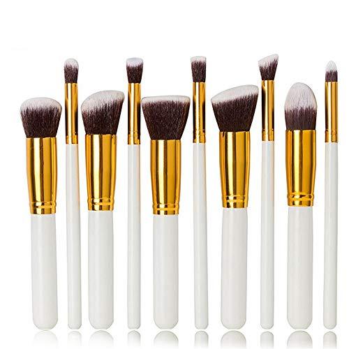 Ensembles de pinceaux de maquillage synthétiques d 10pcs Kabuki pinceaux de maquillage ensembles fard à paupières Blush Foundation pinceaux de maquillage for les lèvres outils (or blanc) Usage profess