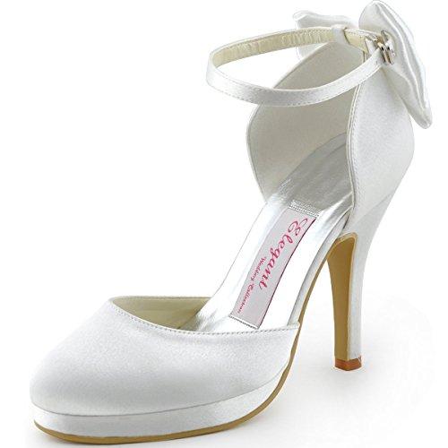 Elegantpark AJ091-PF Donna Tacchi Alti Pompe Cinturino alla Caviglia Fibbia Satin Scarpe da Sposa Bianco EU 36