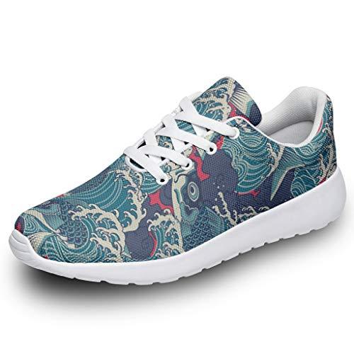 Zapatillas deportivas para niña y niño, diseño de peces japoneses, con ondas, impresión 3D, zapatillas de deporte, para correr, caminar, caminar, correr, etc., color, talla 35 EU