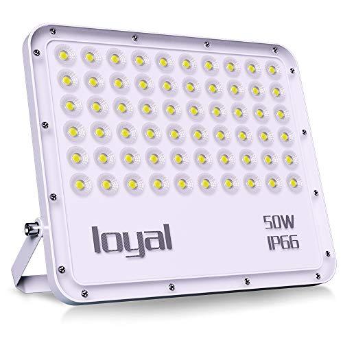 loyal 50W LED Strahler, 5000LM Superhell LED Scheinwerfer, Kaltweiss 6000K, LED Fluter Außen Strahler, IP66 Wasserdicht Flutlicht Außenstrahler für Garten, Garage, Sportplatz