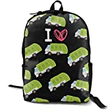 I Heart Love Trash Garbage Trucks Black Daypack With Adjustable Shoulder Straps, Camping Outdoor Backpack Big Capacity School Daypack Backpack Anti-Theft Multipurpose for Boys Girls