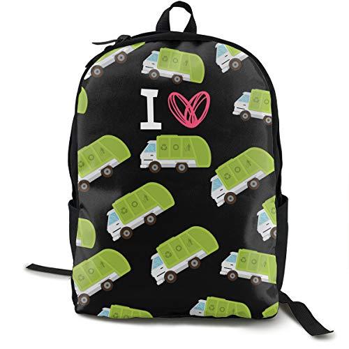 I Heart Love Trash Garbage Trucks Black Daypack With Adjustable Shoulder Straps, Camping Outdoor Backpack Big Capacity School Daypack Backpack Anti-Theft Multipurpose for Boys Girls