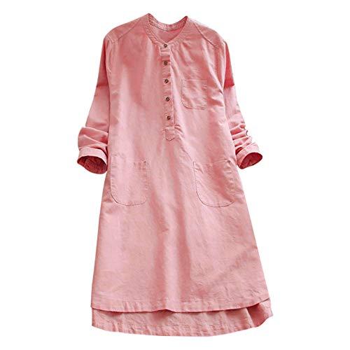 VJGOAL Damen Kleid, Damen Lässige Retro-Baumwolle und Leinen Knopf Lange Tops Bluse Lose Lange Ärmel Mini Hemd Kleid (Rosa, 44)