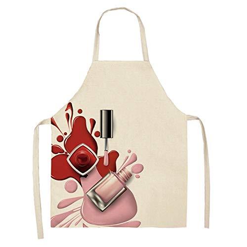 Nagellack Lippenstift Küchenschürzen für Frauen Baumwolle Leinen Lätzchen Haushaltsreinigung Hausmannskost Schürze 53 * 65cm - 2WQ-WQL0179-14