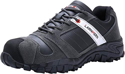 LARNMERN Steel Toe Shoes Men, Safety Work Reflective Strip Puncture Proof Footwear Industrial & Construction Shoe (6.5, Black Gray/Leather)