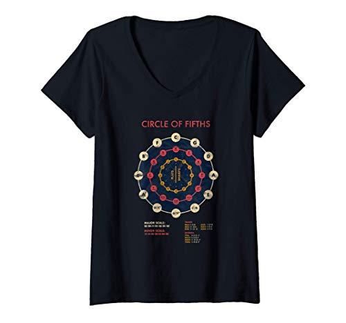 Damen Musik Theorie Quintenzirkel Dur Moll Akkorde Tonleiter T-Shirt mit V-Ausschnitt