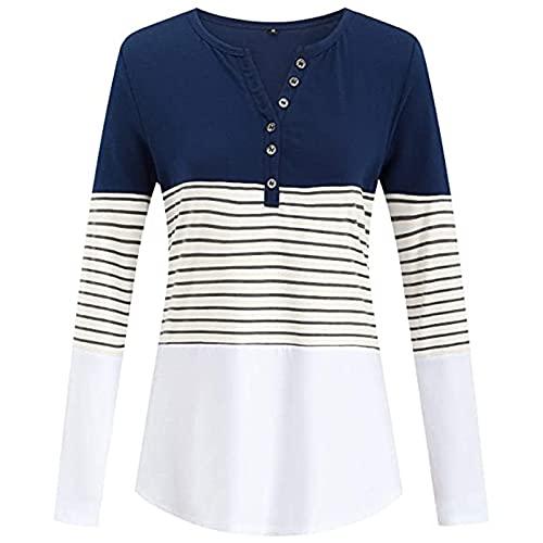 SLYZ Blusas De Manga Larga para Mujer De Primavera con Costuras A Rayas Y Camisetas Delgadas De Manga Larga De Colores Llamativos para Mujer