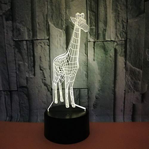 Luz de noche LED,Jirafa lámpara de mesa, control remoto táctil, 7 colores ajustables, adecuado para dormitorio infantil, mesita de noche: el mejor regalo