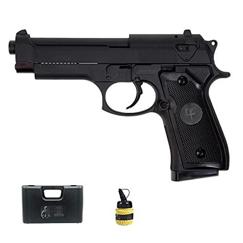 Pistola M92 saigo Muelle (6mm)   Arma de Airsoft semiautomática Tipo Beretta 92 + Bolas de PVC y maletón