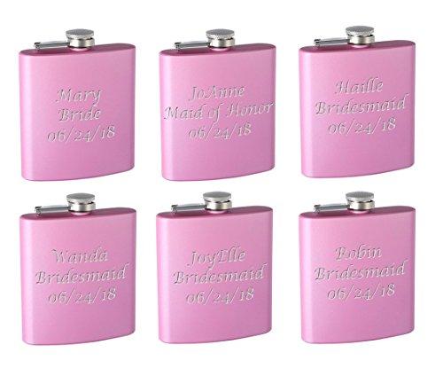 Top Shelf Flasks 6-Pack Personalized (Custom Engraved) 6oz Bridal Party Hip Flasks Pink