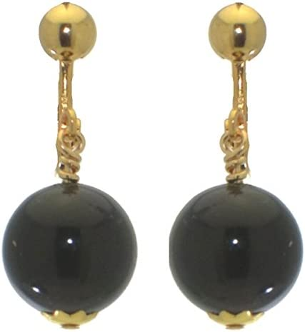 LINDSEY 12mm Gold Plated Black Clip On Earrings