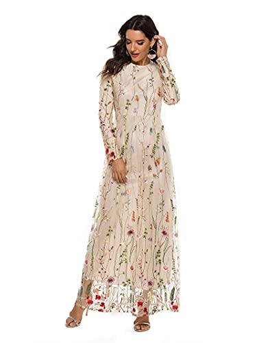 SLYZ Vestido Bordado De Encaje De Moda De Señoras Vestido De Flores De Temperamento Dulce