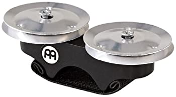 Meinl Percussion Finger Jingle Tambourine for Cajons Bongos Djembes Congas and Hand Drums — NOT Made in China — Aluminum 2 Year Warranty FJS1A-BK