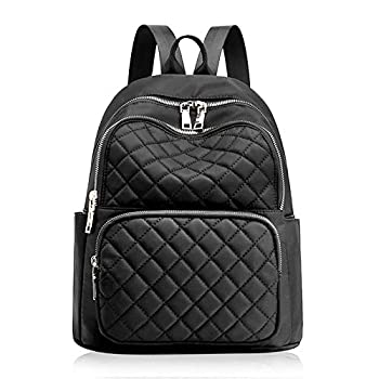 Black Quilted Backpack Purse for Women Lightweight Hiking Travel Daypack Small Casual Ladies Backpack Fashion Bag Best Girls Designer Backpack