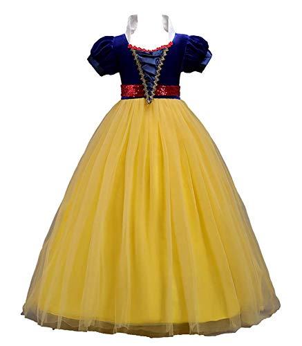 WJJ Vestido de la Muchacha Blanca Nieve, el Papel Que Juega el Vestido de Halloween, tamaño 120-160CM Adecuado para 3-12 años,Amarillo,160CM