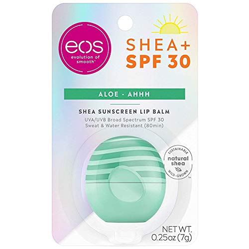 eos Shea + SPF Sphere Lip Balm - Aloe | SPF 30 and Water Resistant | Deeply Hydrates and Seals in Moisture | Sustainably-Sourced Ingredients | 0.25 oz