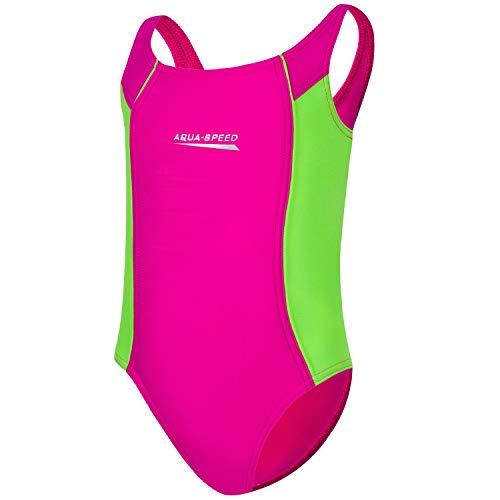 Aqua Speed Mädchenbadeanzug | Schwimmanzüge Mädchen Kinder | Schwimmanzug mit Sonnenschutz | Kids Girls Swimsuits | Swimming Pool | Gr. 122 cm | pink - hellgrün 83 | Luna