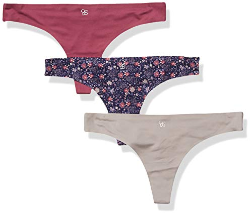 Jessica Simpson Women's Seamless No Show Thong Panties Underwear Multi-Pack, Eclipse/Opal Grey/Violet, Large